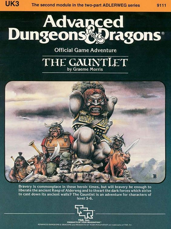 UK3 The Gauntlet (1e) | Book cover and interior art for Advanced Dungeons and Dragons 1.0 - Advanced Dungeons & Dragons, D&D, DND, AD&D, ADND, 1st Edition, 1st Ed., 1.0, 1E, OSRIC, OSR, Roleplaying Game, Role Playing Game, RPG, Wizards of the Coast, WotC, TSR Inc. | Create your own roleplaying game books w/ RPG Bard: www.rpgbard.com | Not Trusty Sword art: click artwork for source