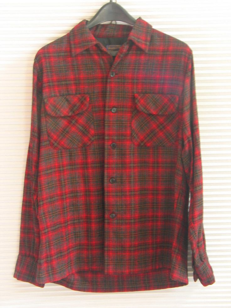 Vintage 1960 Mens Wool Shirt Pendelton Red Black Plaid Fall ~ Winter Hipster Lumberjack Medium made in USA in excellent vintage condition by PinkyLaRoux on Etsy