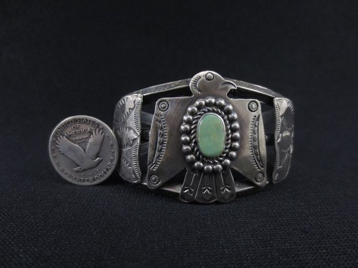 Antique Navajo Bracelet Fred Harvey Era Thunder Bird Coin Silver & Turquoise #FredHarveyJewelry