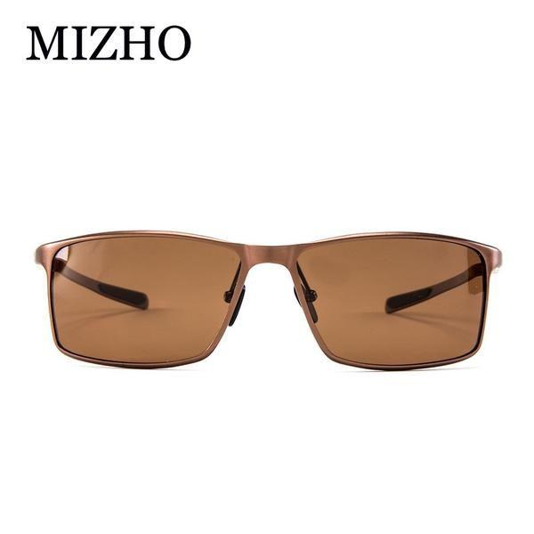 FuzWeb:MIZHO 18G Light Aluminium Frame High Quality Rectangle Sunglasses Men Polarized UV FDA Standard Polaroid Original oculos
