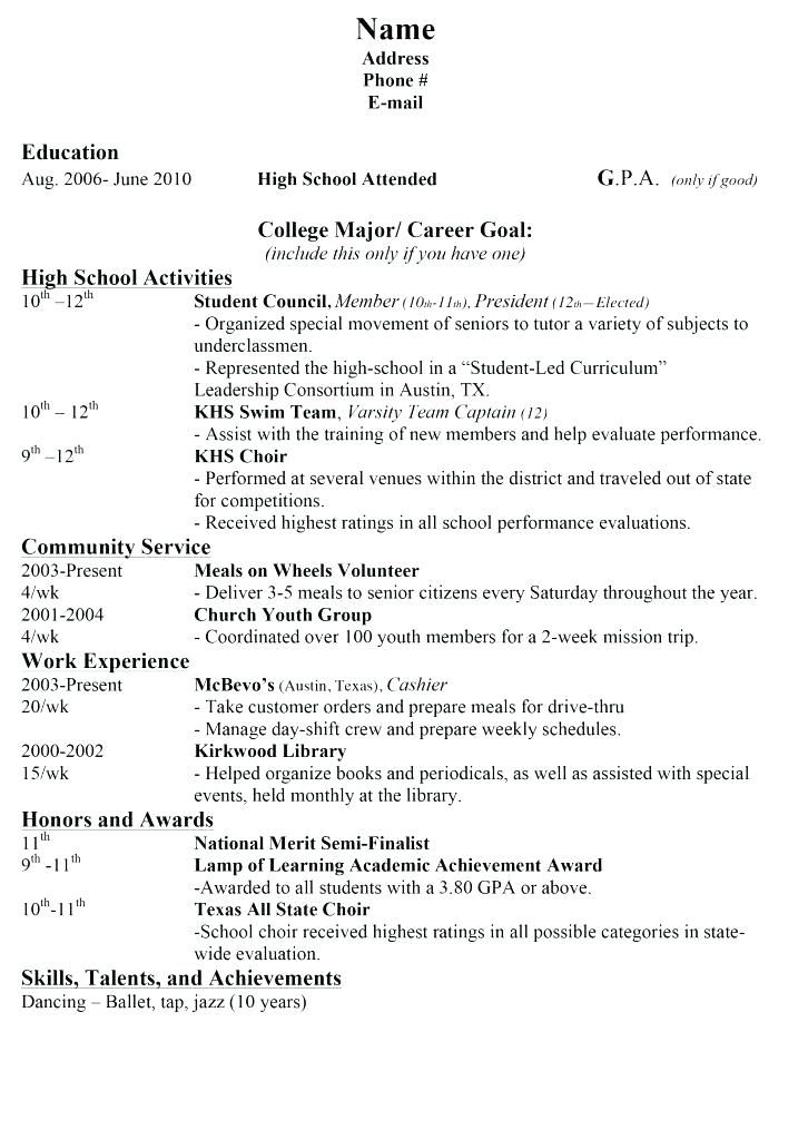 College Application Resume Outline Example Of College Resume For College Application High School Resume College Application Resume High School Resume Template