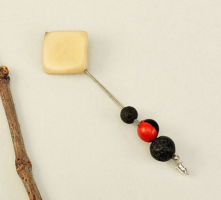 Tagua brooch, vegetable ivory jewelry, lava Santorini jewelry, silver long brooch, geometric brooch, eco friendly pins, women gift idea by ColorLatinoJewelry on Etsy