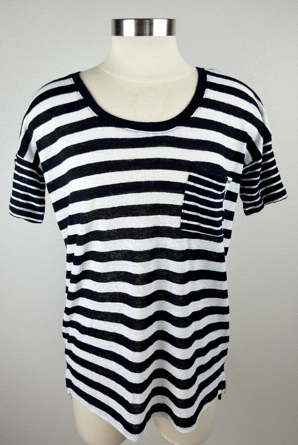 edfa7887 Old Navy Womens Small Black White Striped Linen Boyfriend Short Sleeve Top  Shirt#Black#White#Striped