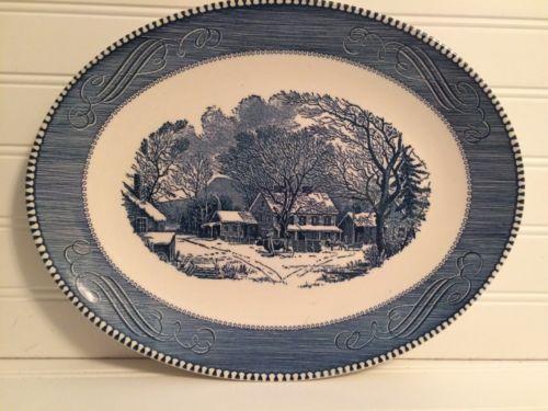 CURRIER-IVES-BLUE-Old-Inn-Winter-Royal-USA-13-1-8