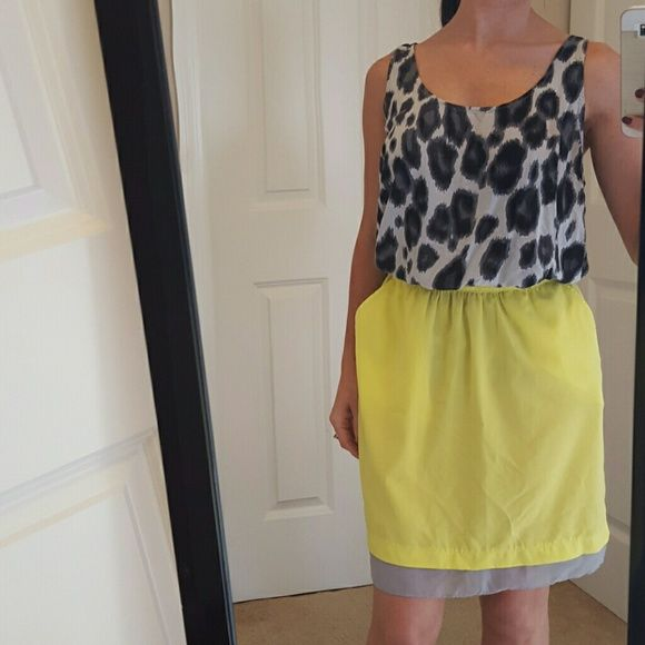 Neon Yellow and Grey Skirt Colors: neon yellow and grey color clock at bottom. Elastic waist. Two side pockets. Mossimo Supply Co Skirts