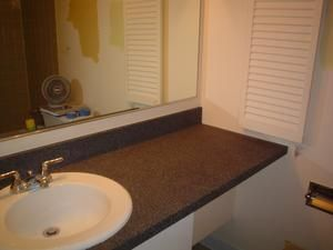 How to Paint Your Bathroom Counter with Krylon Make it Stone Textured Paint (granite-like finish)