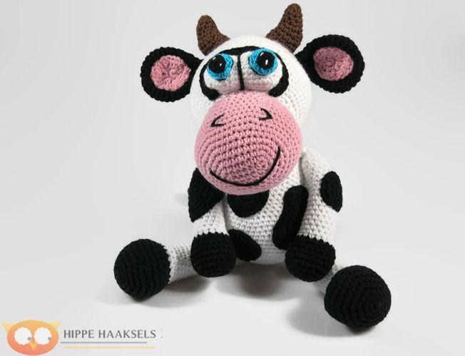 Crochet  Cow - Stuffed Cow - Cow Plush - Farm Animals- Barn Toy - Handmade Black & White Cow - Crochet Toy - Amigurumi Cow - Ready to Ship - pinned by pin4etsy.com