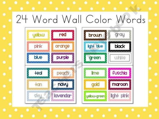 Classroom Decoration Word Worksheet ~ Polka dot word wall color words free prek nd