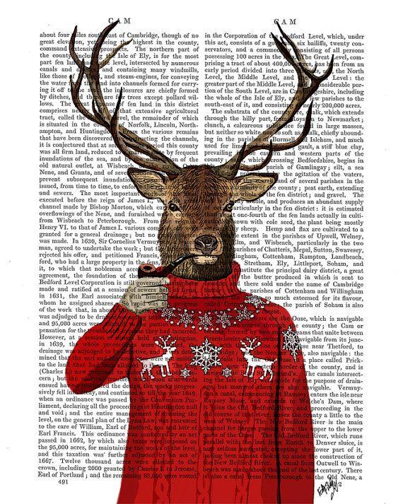 I soooo want this!!! Deer in Ski Sweater Wall Art Art Giclee Print Acrylic by FabFunky, $15.00