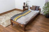 Lit simple / d'ami bois du pin massif en couleur de noyer A8 incl. sommier à lattes - Dimensions : 80 x 200 cm