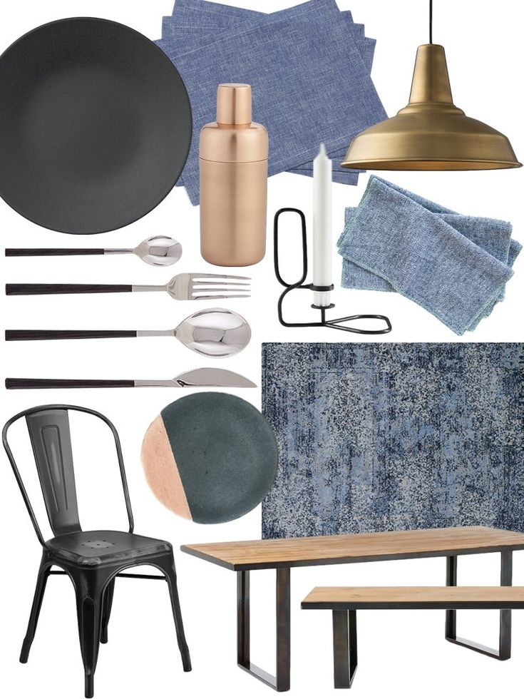 """Shop Apilco Reglisse Dinnerware Collection, Orb Copper Shaker, Modern Slub Placemats, Set of 4, Brass Factory Modern No. 5 Pendant, Blue Chambray Cotton Dinner Napkin / Aqua, Loloi Viera VR-06 Light Blue/Grey 3'10 x 5'7 Area Rug - Rugs - Macy's, Industrial Oak + Steel Dining Table 68"""", Waxed Industrial Oak/Hot Rolled Steel, Industrial Oak + Steel Dining Bench, Flash Furniture 33.5"""" Side Chair, Charcoal Concrete Coaster with Gold (Set of Four), Black Flatware - Flatware - Tableware   Zara…"""