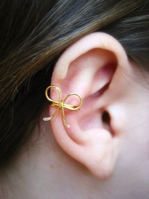 Dainty Bow Ear Cuff by Artistieke on Etsy. Tie me up now!!