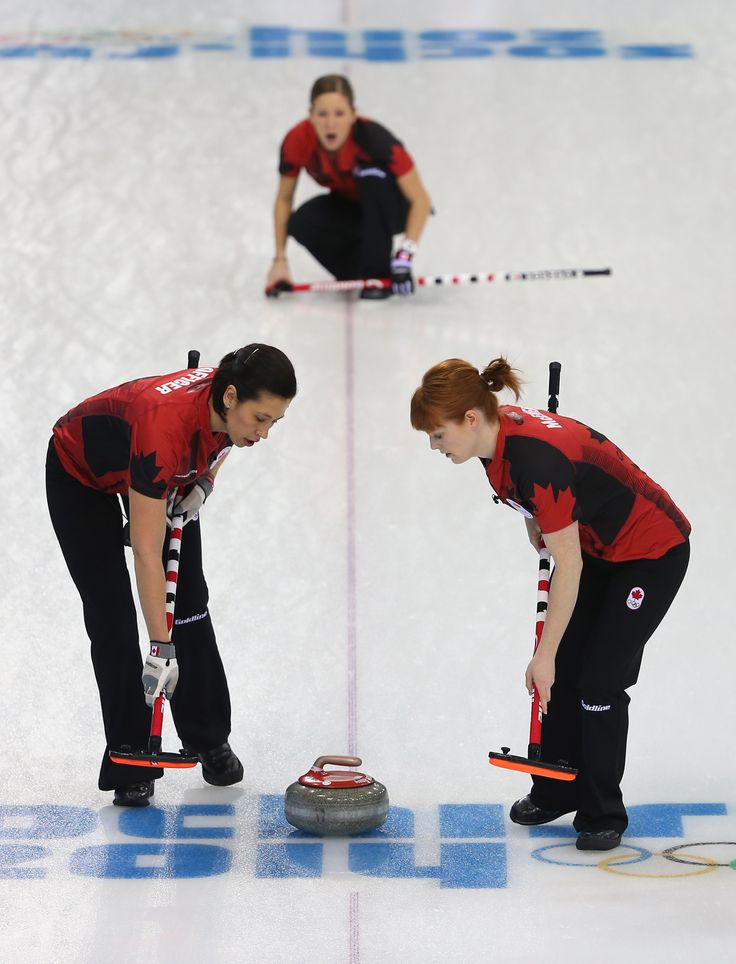 Kaitlyn Lawes of Canada looks on after delivering the stone as Jill Officer and Dawn McEwen of Canada sweep the ice during Curling Women's Round Robin match between Canada and Japan (c) Getty Images