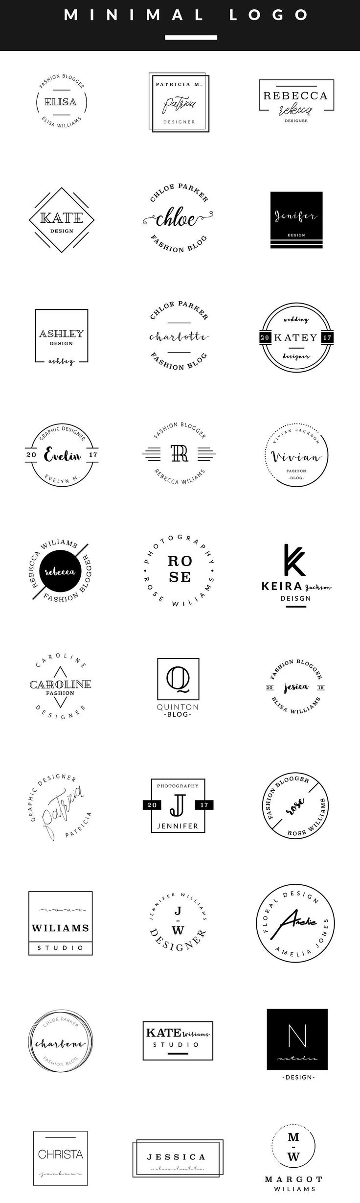 Feminine Logo Templates MINIMAL by Graphic Dash @creativemarket :: So many typos to overlook, yet lovely.