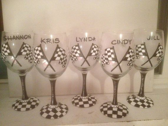 racing flag wedding dresses | Checkered flag wine Glass, hand painted, Racing Flags, Personalization ...