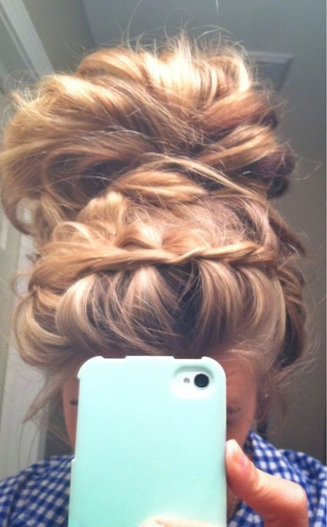 headband braid bun combo: Hairstyles, Hair Styles, Messy Buns, Braided Bun, Updo