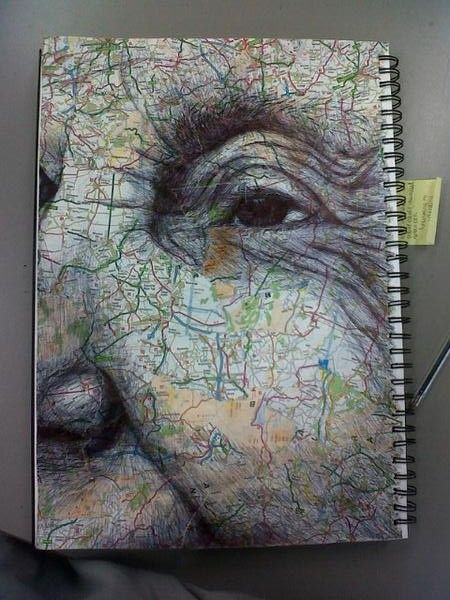 porcelainspirit: biro on collaged mapI still can't believe how wild people on twitter went for this