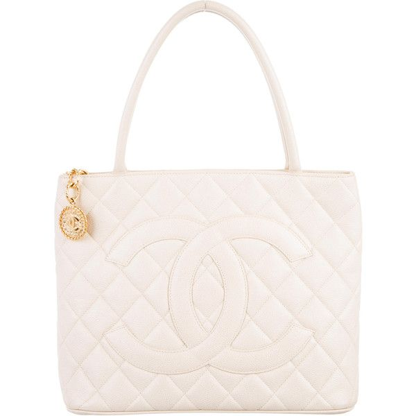 Pre-owned Chanel Quilted Medallion Tote ($1,395) ❤ liked on Polyvore featuring bags, handbags, tote bags, white, white leather tote, chanel tote, zippered tote bag, leather hand bags and leather man bags