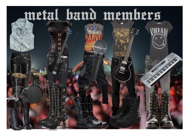 metal band members (2 girls, 3 boys) by slytheriner on Polyvore featuring мода, Pull&Bear, Topshop, Madewell, Yves Saint Laurent, AllSaints, Diesel, River Island and Riedel