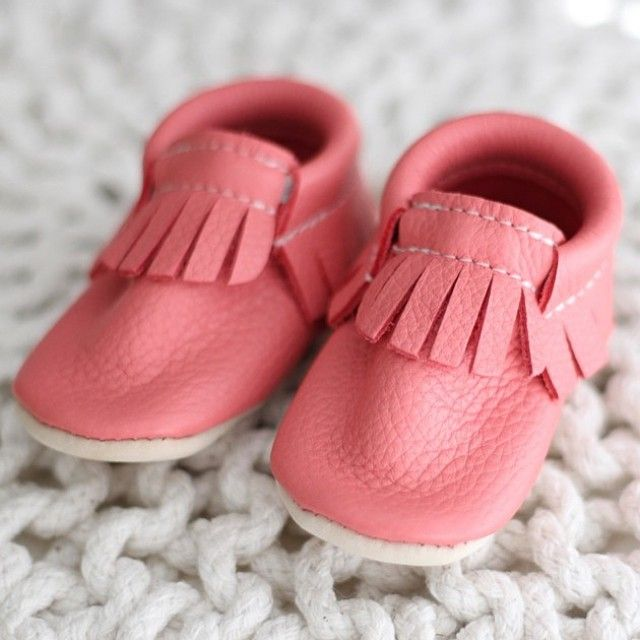 Coral Minimoc moccasins. Buttery soft leather.