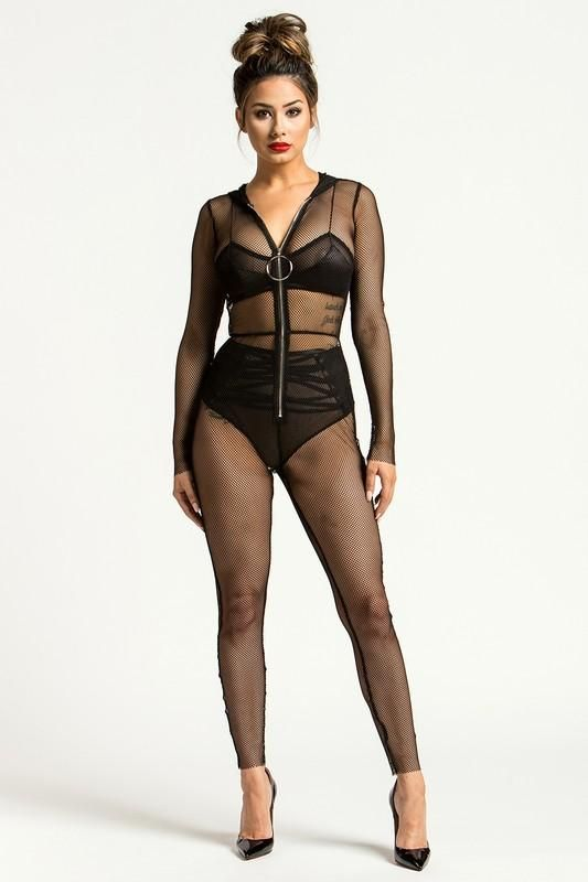 Black Fishnet Hooded Jumpsuit