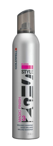 Goldwell Style Sign Magic Finish Spray 300 ml    Micro-fine brilliance-boosting hairspray for enhanced radiance        Gives strong yet flexible hold      Easy to brush out and residue-free      Color protection