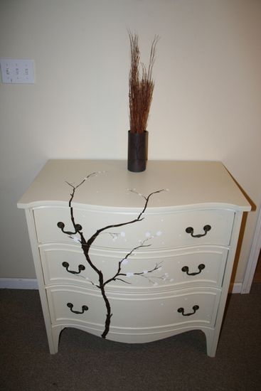 White cherry blossom tree, vintage dresser upcycle, anew nature