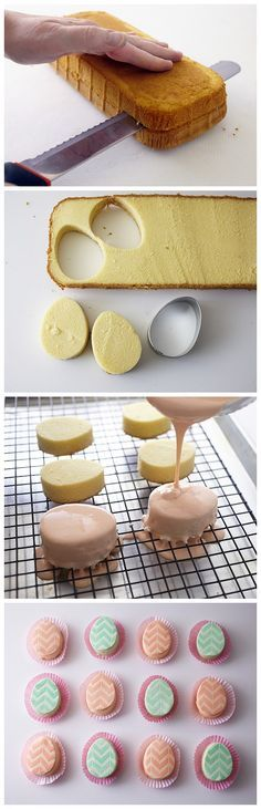 MINI EASTER EGG CAKES Ingredients 1 – 16 oz. Store Bought Pound Cake 2 – 16 oz. Tubs of Store Bought Vanilla Icing (not whipped) 1 1/2 pounds White Fondant Vodka or Clear Extract Blue, Yellow and P…