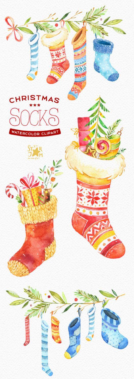 Calze di Natale. Acquerello clipart inverno regalo calze di