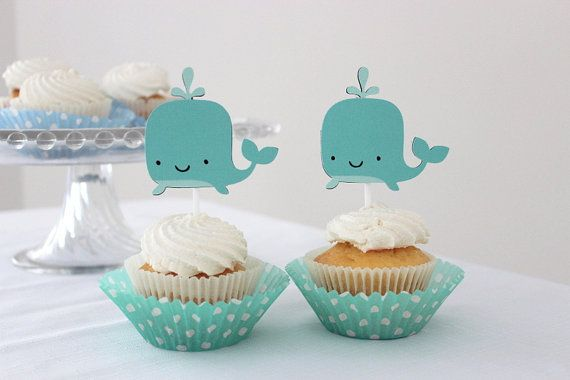 12 x Whale Cupcake Toppers Under the Sea by MyPinwheelParty