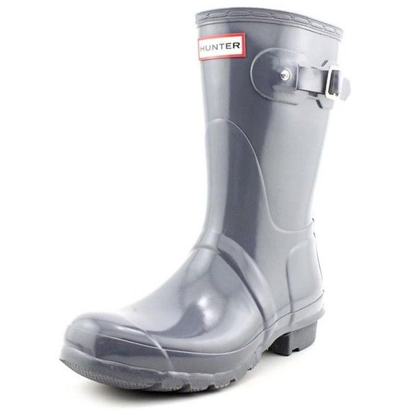 Hunter Hunter Original Short Gloss Women Round Toe Synthetic Gray Rain... ($96) ❤ liked on Polyvore featuring shoes, boots, grey, mid-calf boots, grey mid calf boots, grey boots, short rubber boots, short boots and grey rain boots