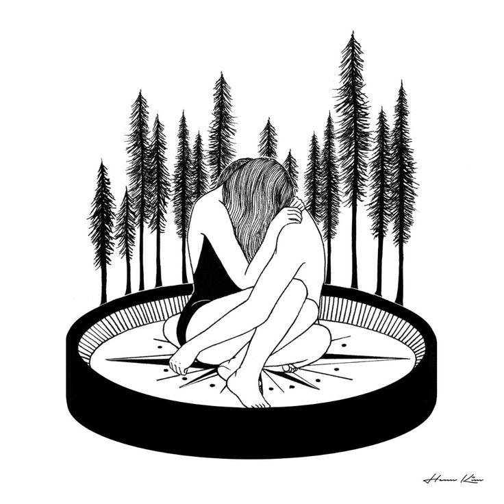 Ilustraciones que demuestran que enamorarse es igual a morir poco a poco. Henn Kim.