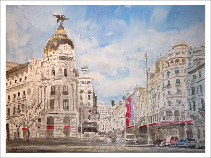 acuarelas. Gran Vía de Madrid