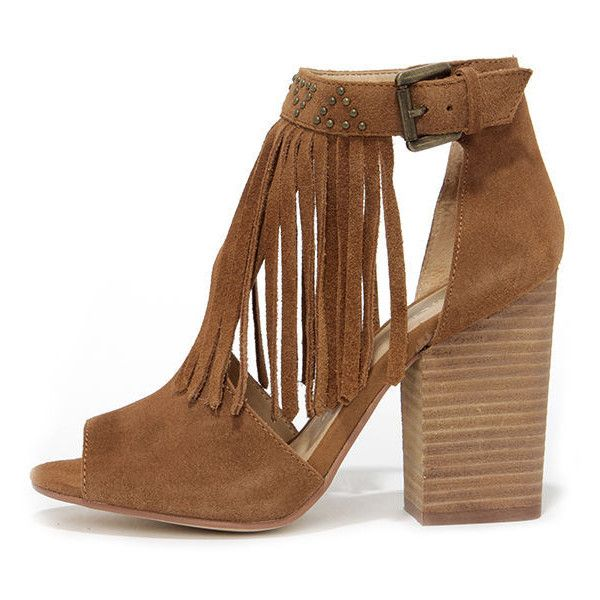 Chinese Laundry Boho Camel Suede Leather Fringe Booties found on Polyvore