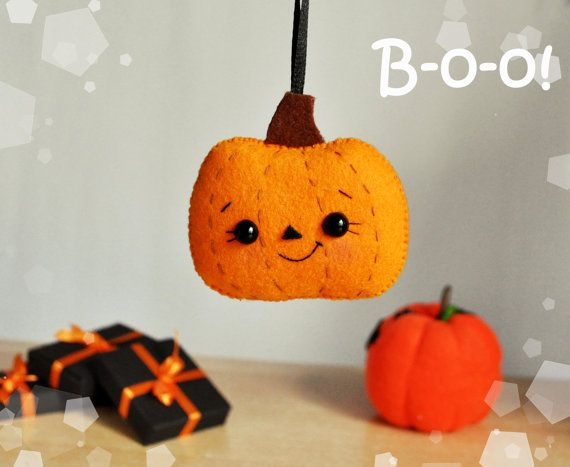 Halloween pumpkin felt ornament Halloween decor by MyMagicFelt