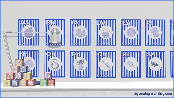 Blue Digital flashcards  Alphabet  Printable Toys by ArcDeGra