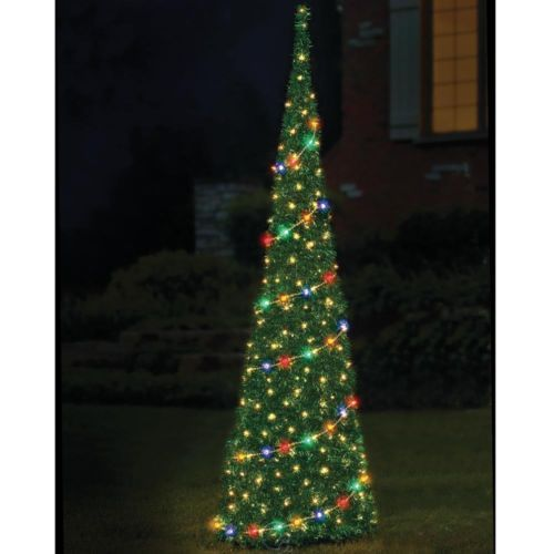 Pop Up Christmas Trees With Lights: The 9' Prelit Pop-Up Tinsel Christmas Tree Fully Decorated