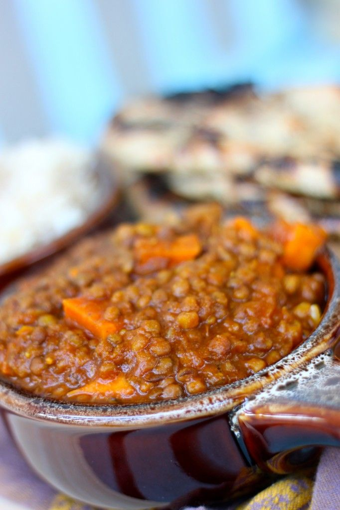 crockpot Indian spiced lentils--made this for dinner tonight.  Served it with brown rice and naan.  So good!