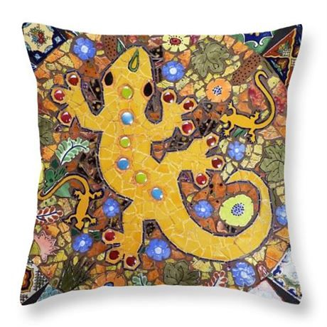 This southwestern western pillow depicts a geckopattern that is from my original mosaic that was made with Talavera tiles. The cover is polyester with a foam insert. If you prefer the case only let me know. The case has a zipper for easy removal of the insert. The design is on both sides.  The pillow is 16x 16inches.  Wash in cold water and tumble dry low heat.  Please check out my shop for more mosaic art, belt buckles, home decor, and jewelry.
