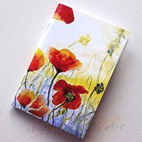 Pipacsok naplementében füzet - Vágyi Gabriella Art #pipacs #naplemente #füzet #akvarell #piros #colorful