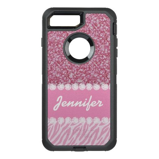 Girly, Pink Glitter, Zebra Stripes, Your Name OtterBox Defender iPhone 7 Plus Case