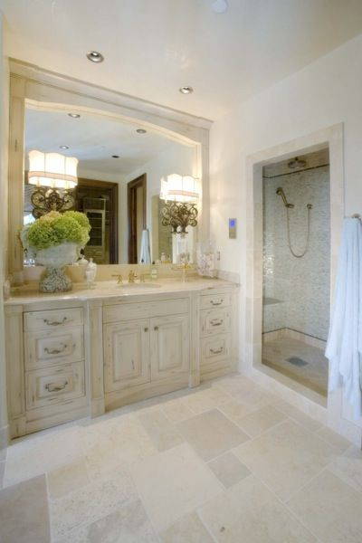 Limestone Tile- St. Tropez  MISSION STONE for countertops to go with gray vain cut bathroom tile