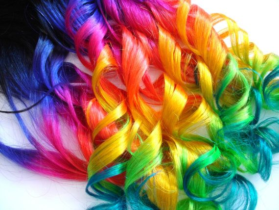 Hair Extensions - Dip Dyed Off Black\/Neon Rainbow - Complete Set for ...