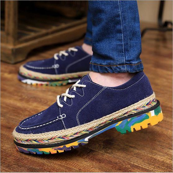 New Men's Punk Shoes Chunky Lace Up High Platform Loafers Creeper Brogues  shoes