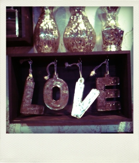 Safade Pressed glass silver love letters.