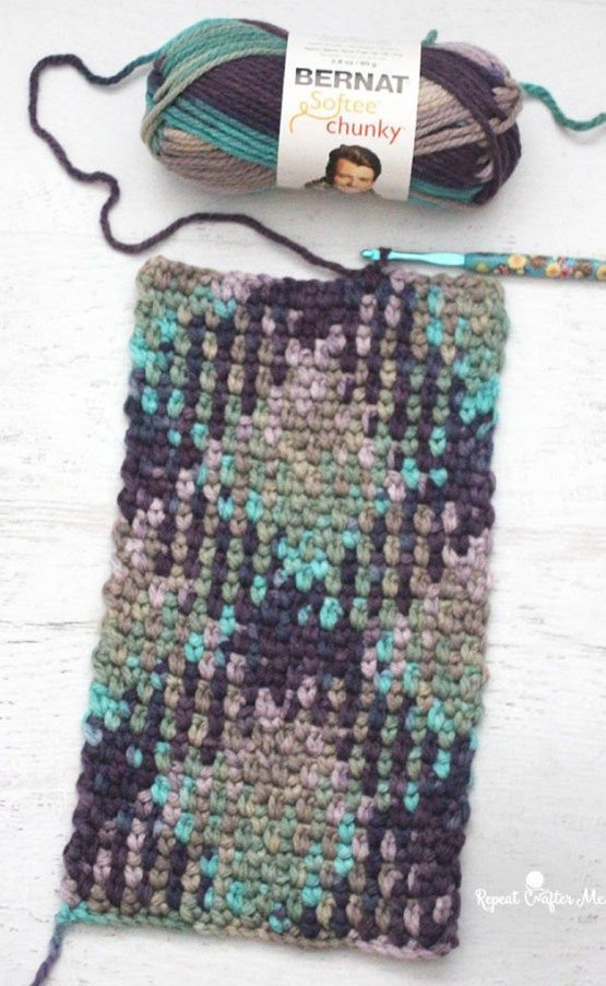 Crochet Planned Color Pooling Scarf (Repetir Crafter Me)