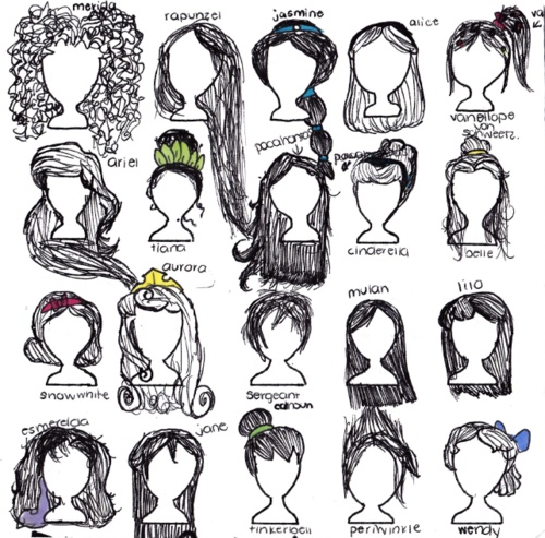 Drawings of disney princesses hair