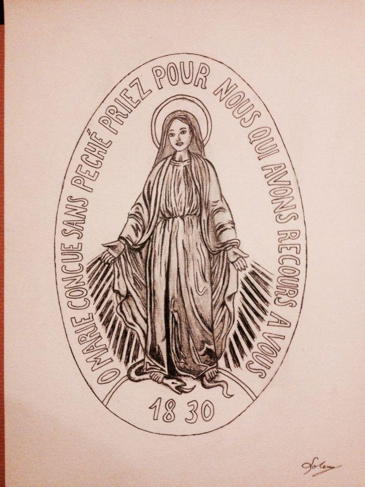 Vierge miraculeuse, dessin du médaillon, tattoo, tatouage