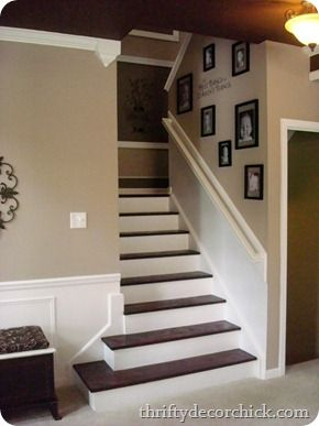 dark treads light risers stairs. Great idea for when we redo our family room! I hate the steps now.