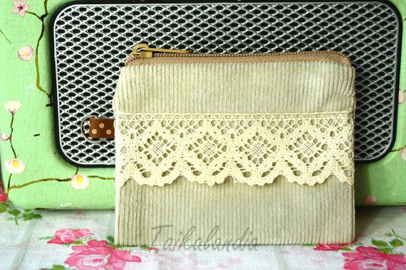 Natural White Corduroy Lace Zipper Pouch  Corduroy by TaikaLand